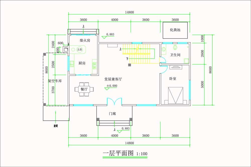现代超前卫的双层自建别墅一楼原创设计图纸