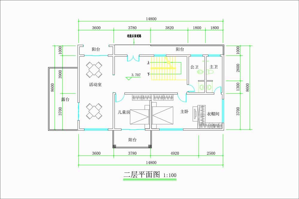 现代超前卫的双层自建别墅二楼原创设计图纸