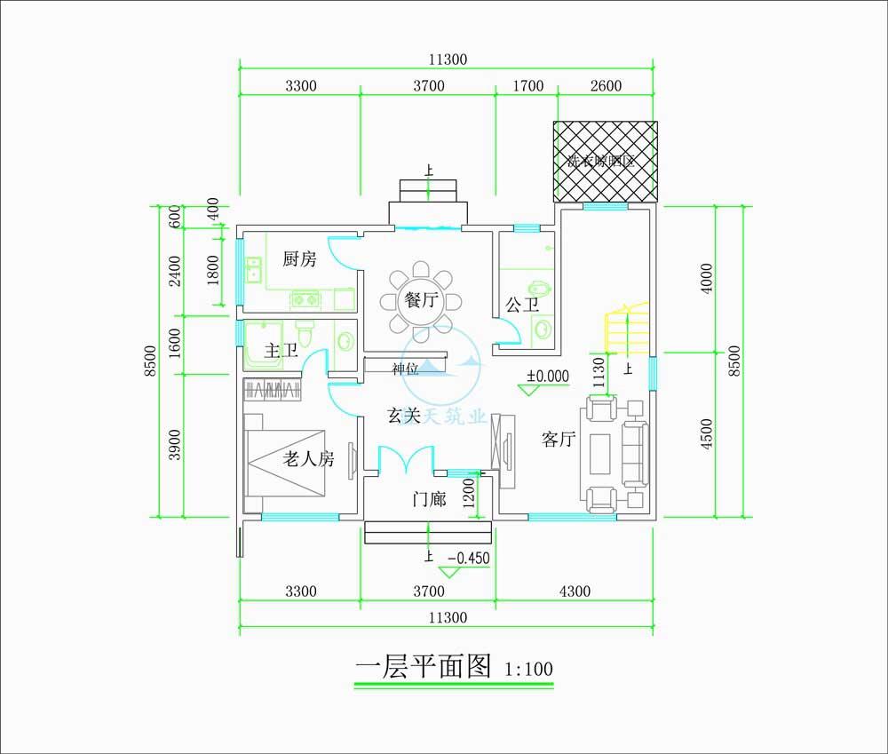 现代商务简约风三层自建别墅一层原创设计图纸