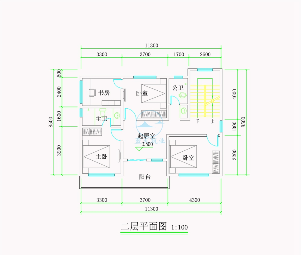 现代商务简约风三层自建别墅二层原创设计图纸