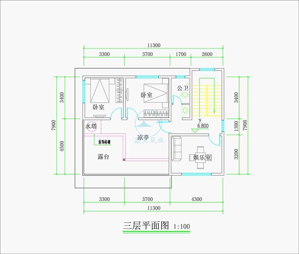 现代商务简约风三层自建别墅三层原创设计图纸