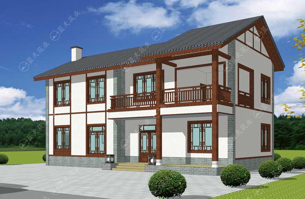 中式两层自建别墅效果图