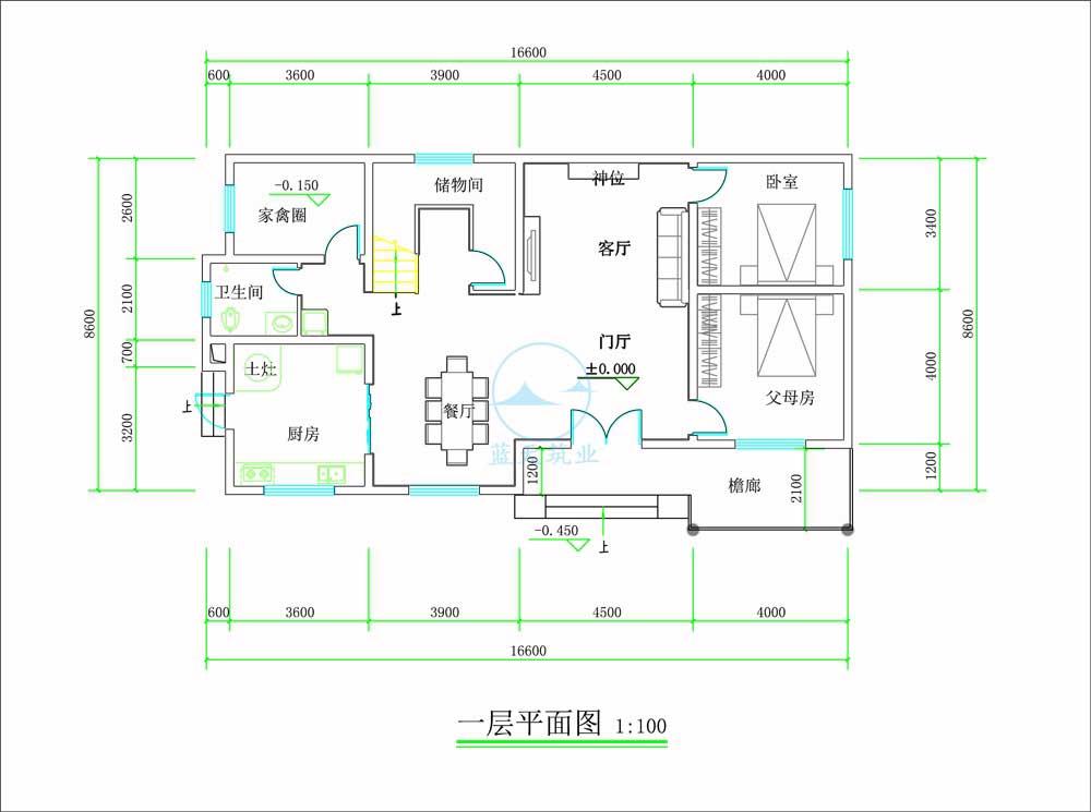 中式两层自建别墅一楼原创设计图纸