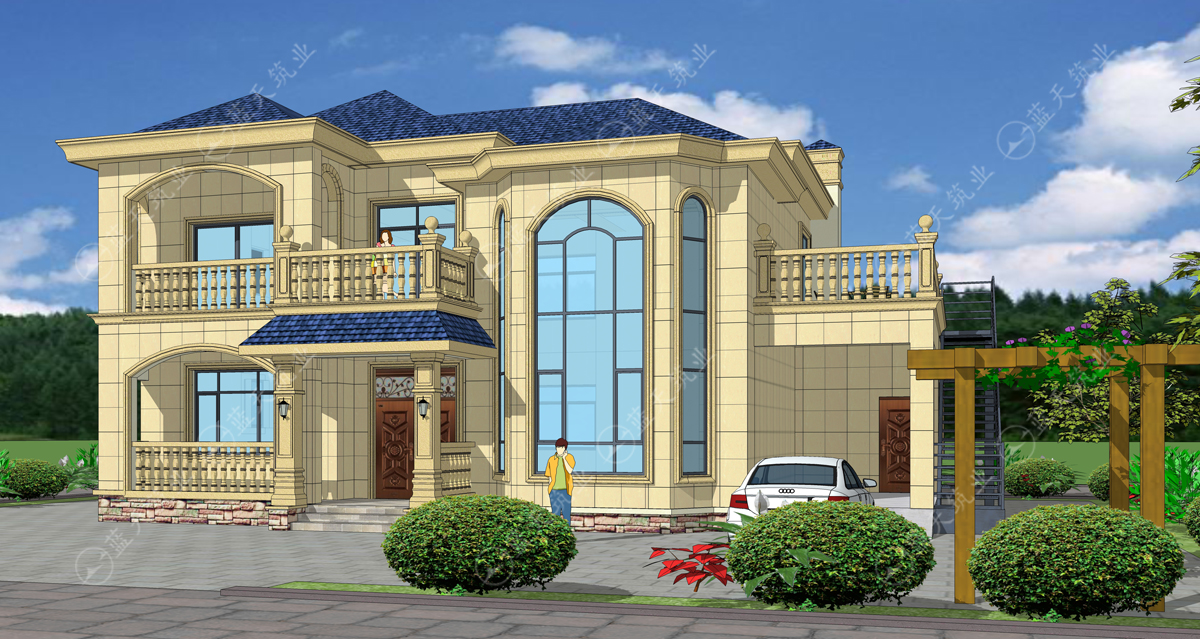 欧式两层自建别墅效果图