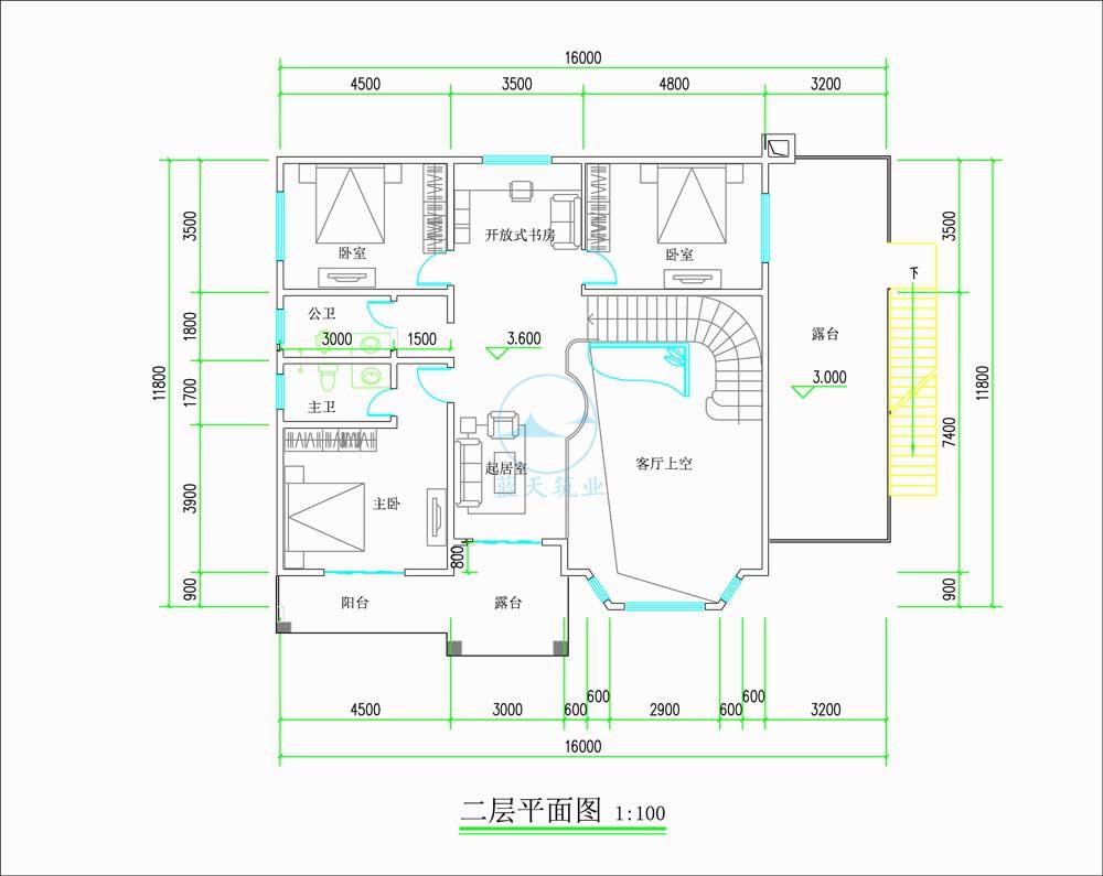 欧式两层自建别墅二层原创设计图纸