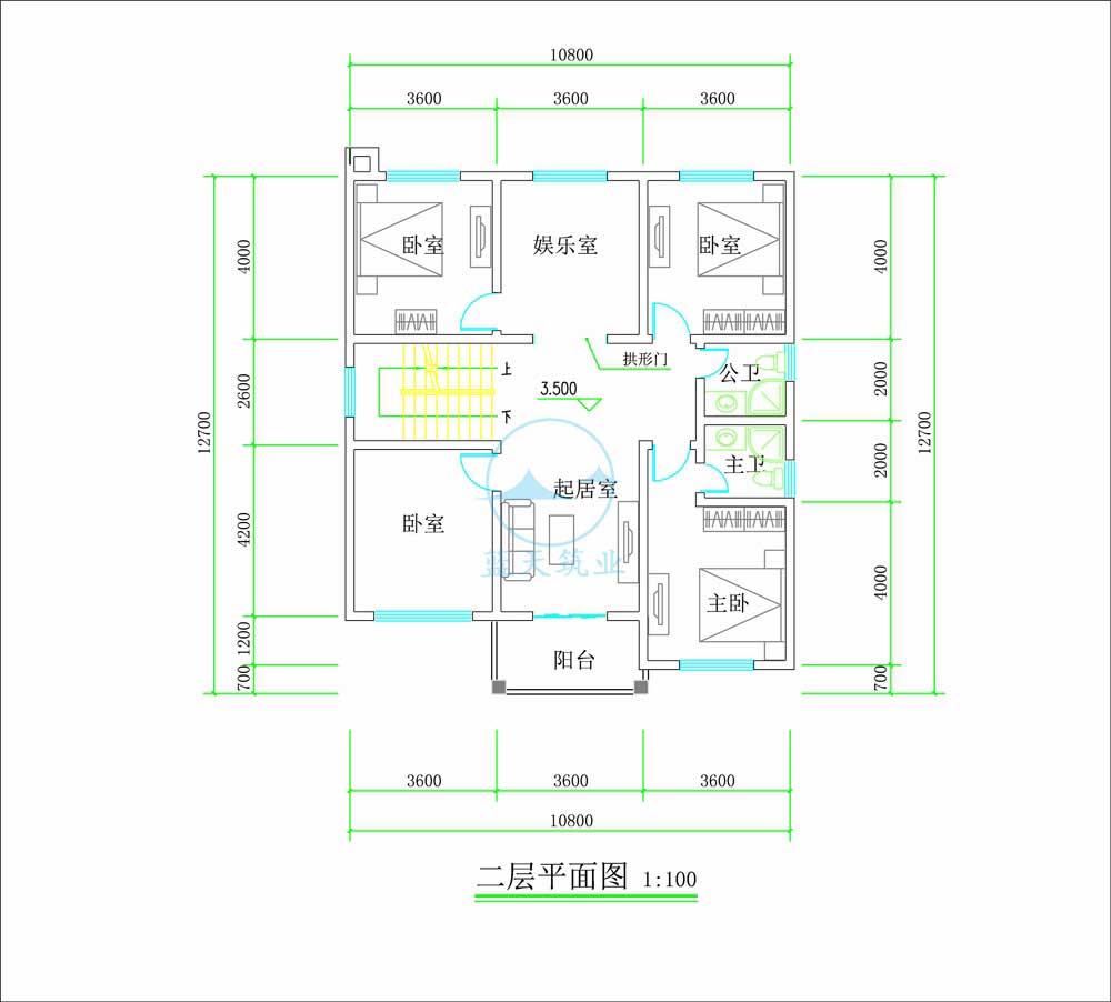 中式复古三层自建别墅二楼原创设计图纸