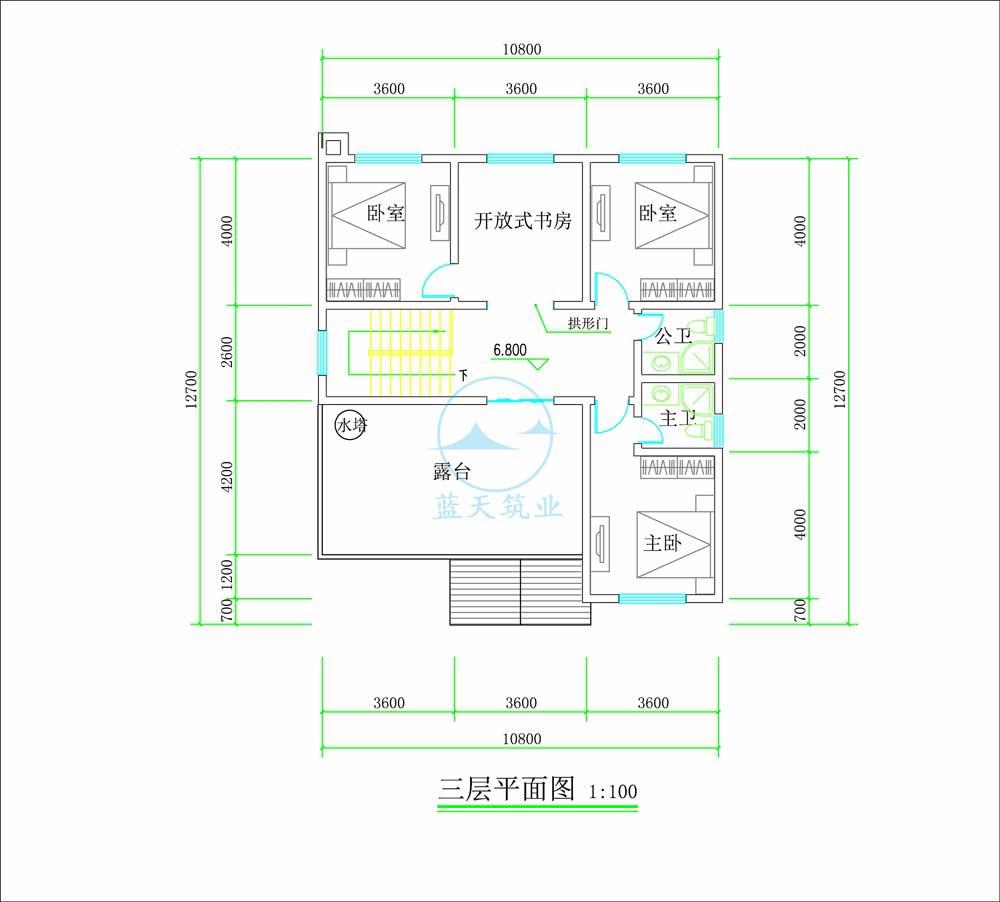 中式复古三层自建别墅三楼原创设计图纸