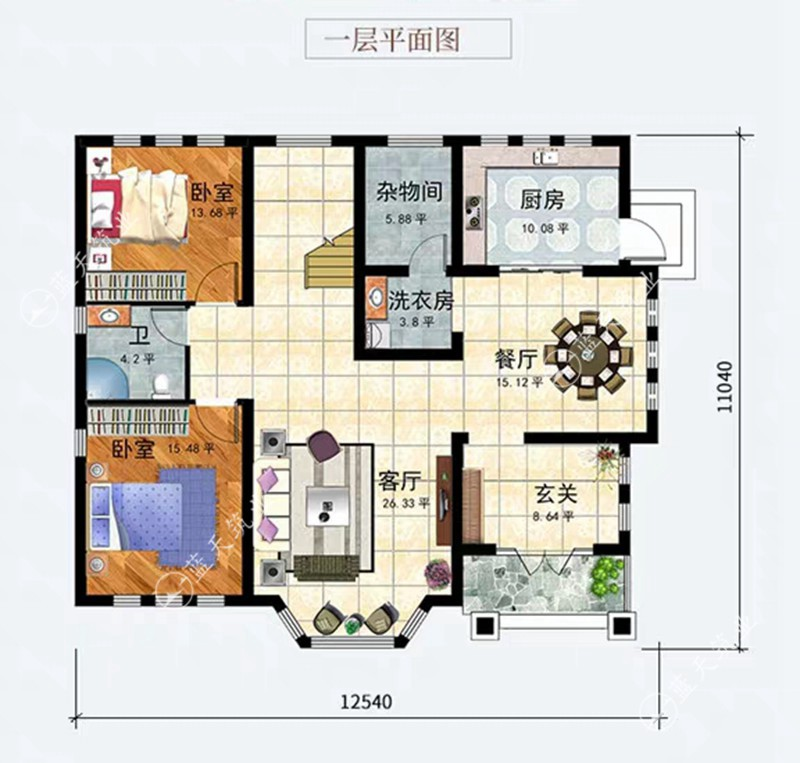 宜宾自建别墅一层平面设计图