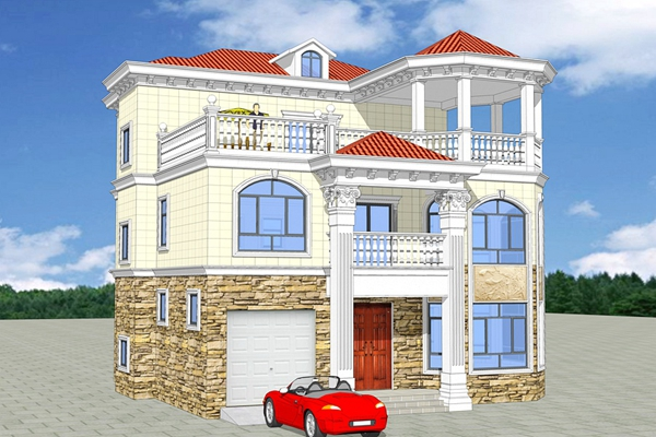 简阳欧式三层自建别墅原创设计图纸