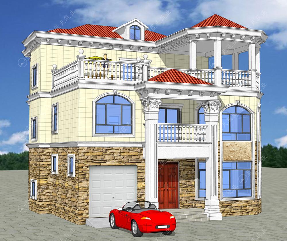 现代欧式三层自建别墅效果图