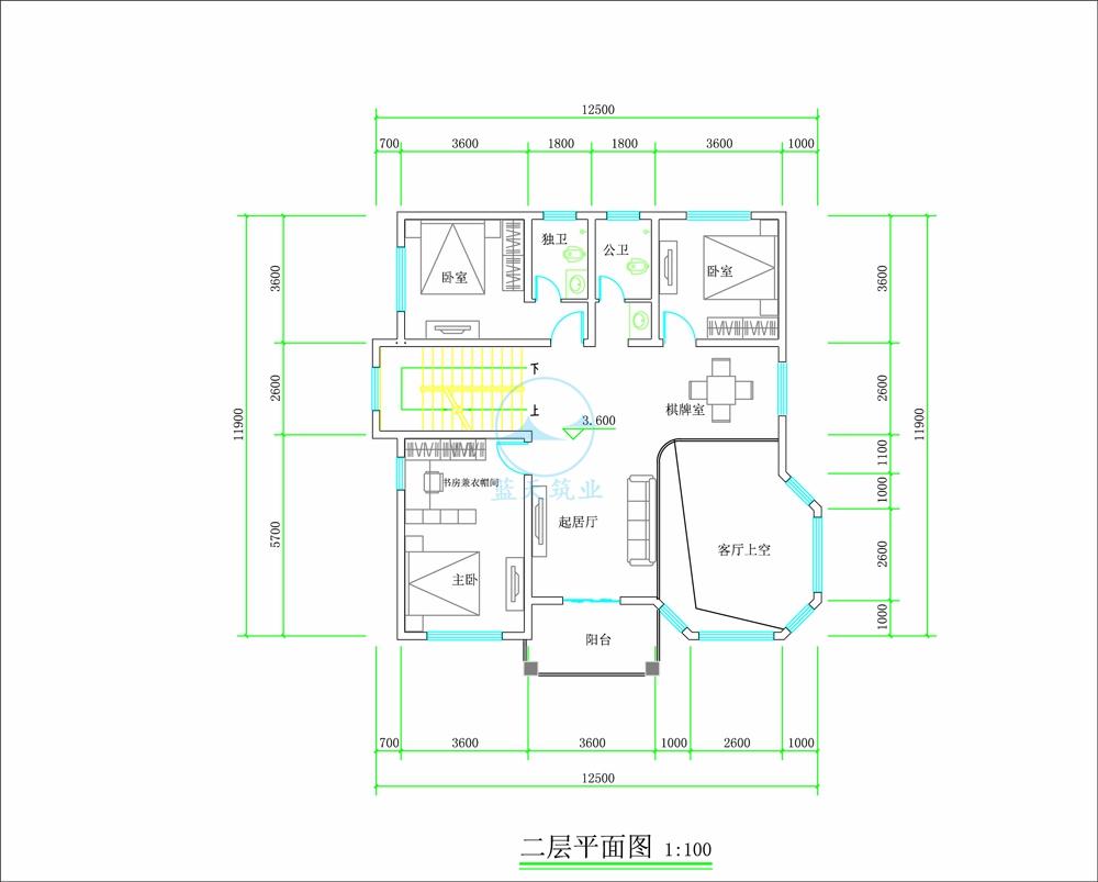 现代欧式三层自建别墅二层原创设计图纸
