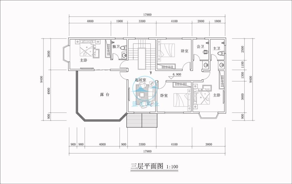 欧式三层自建别墅三层原创设计图纸