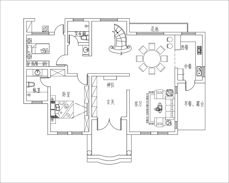 法式别墅一层布局图