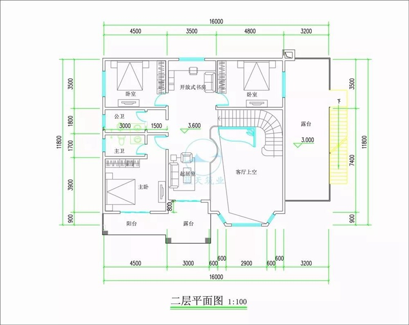 欧式两层自建房设计二层图纸