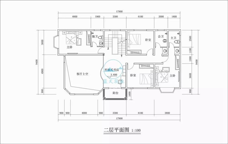 三层豪华欧式自建房设计二层图纸