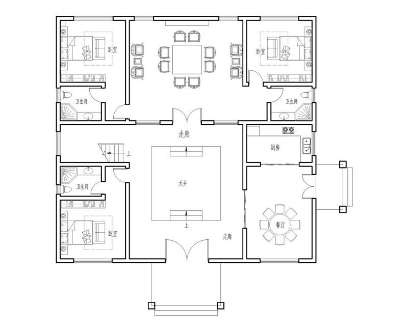 中式自建房设计图一层