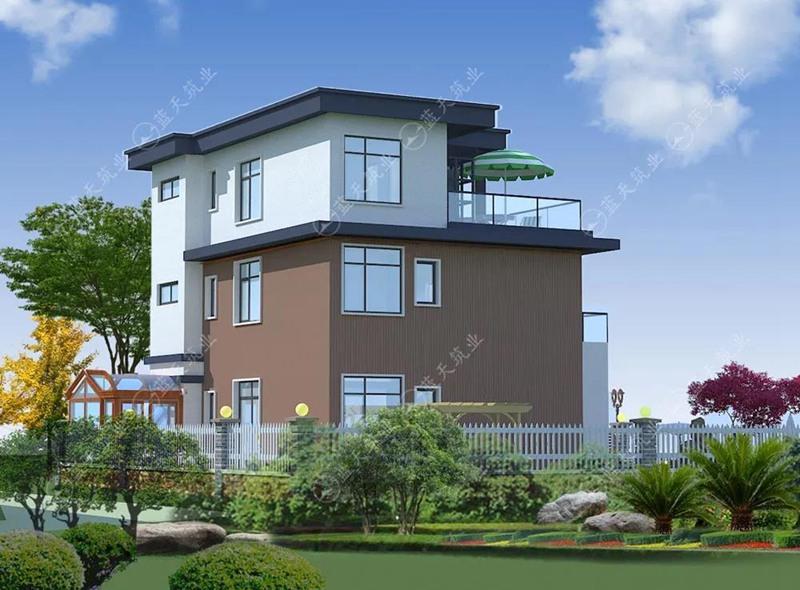 农村现代自建房设计侧面效果图