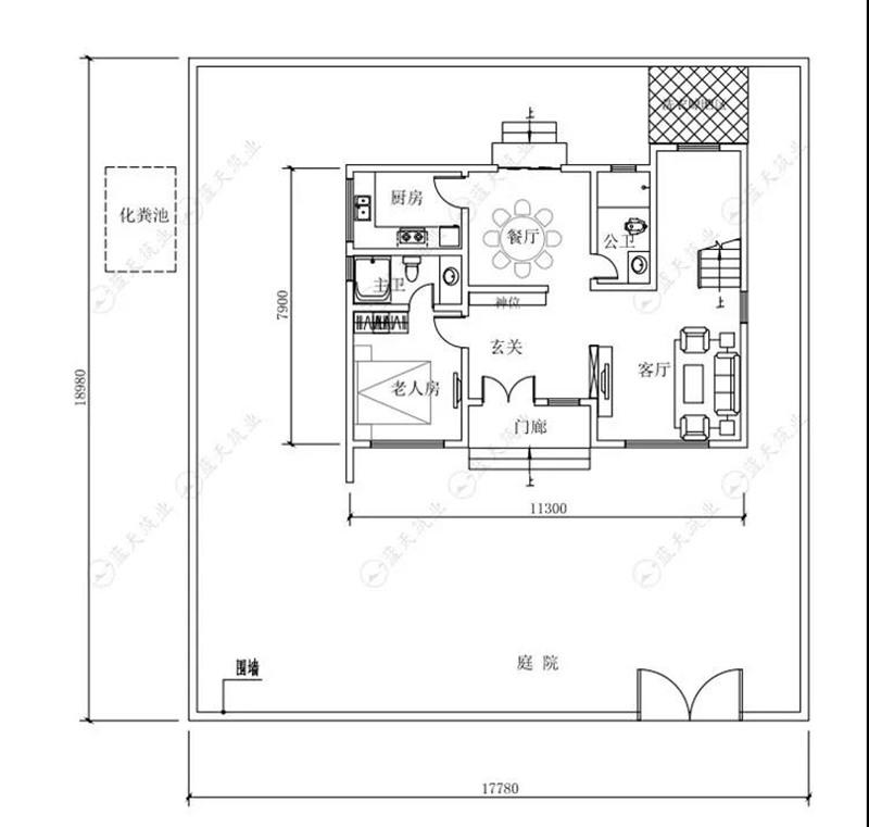 自建房设计一层平面布局图