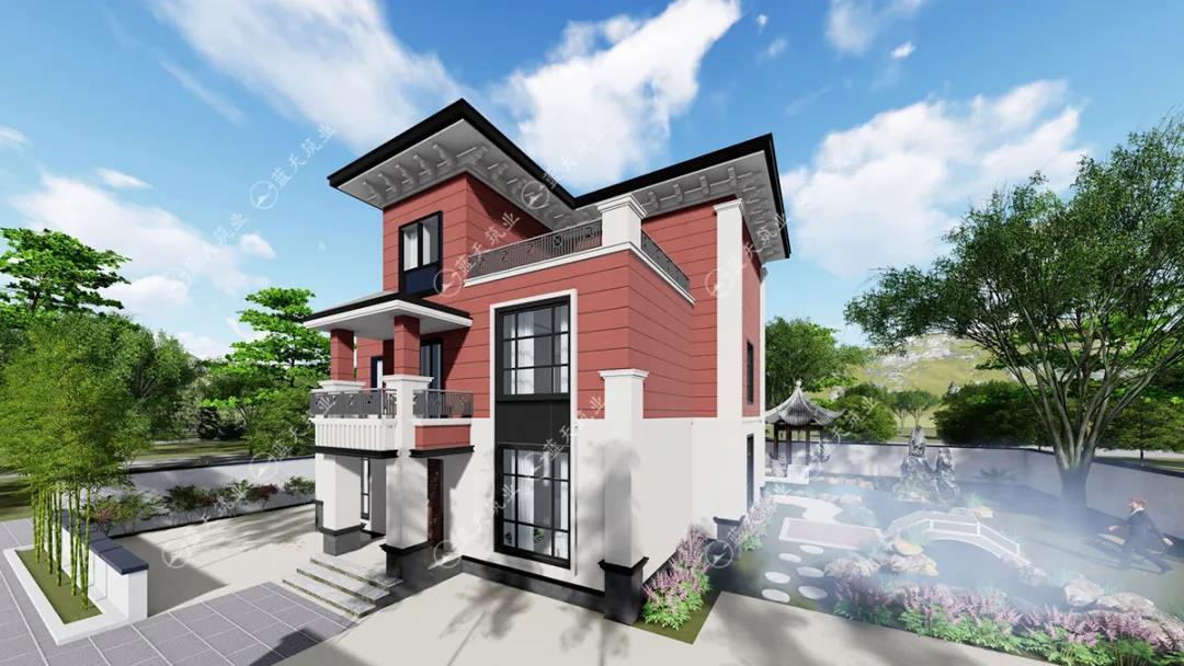 定制设计|12.8mx12.2m三层新中式风格别墅图纸