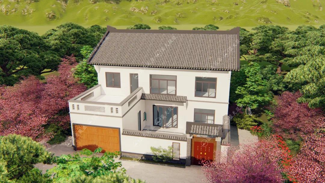 定制设计|12.9mx14.5农村中式小院,带车库庭院