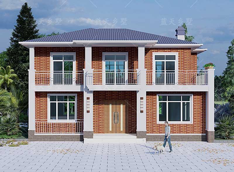 农村别墅自建设计# 现代二层别墅,露台+单户7卧